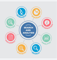 search and analysis with icons vector image