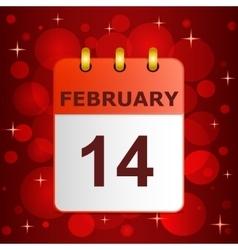 Calendar icon 14 February on festive background vector image vector image