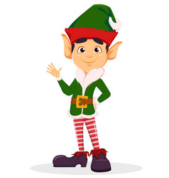elf waving hand making hello sign vector image vector image