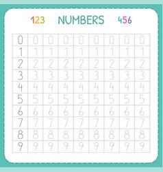 numbers for kids worksheet for kindergarten and vector image