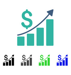 sales growth chart flat icon vector image vector image