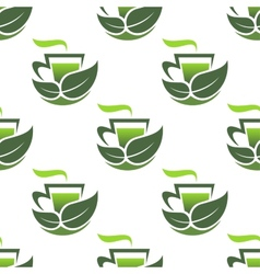 Seamless pattern of green organic tea vector image vector image