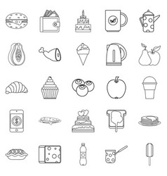 street coffee house icons set outline style vector image