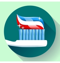 Toothbrush with toothpaste Icon flat style vector image vector image