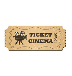 a cinema ticket isolated on a white background vector image