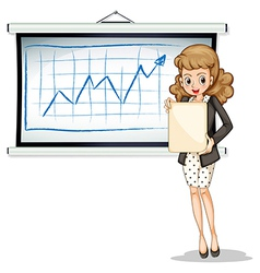 A woman holding an empty template in front of the vector image