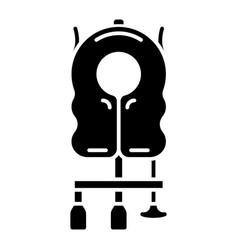Aircraft passenger life vest glyph icon vector