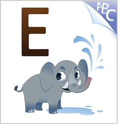 Animal alphabet for the kids E for the Elephant vector image