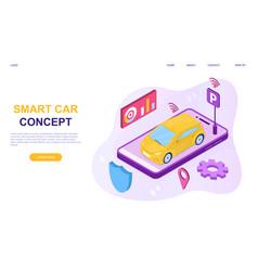 autonomous wireless parking remote connected car vector image