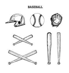 baseball equipment set vector image
