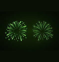 Beautiful green fireworks set bright fireworks vector