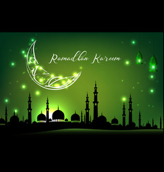 Beautiful mosque with moon on green sky background vector