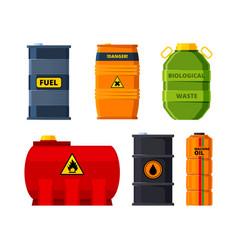 big oil tanks set barrels for oil or toxic vector image