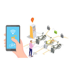 Bike sharing system concept for web banner vector