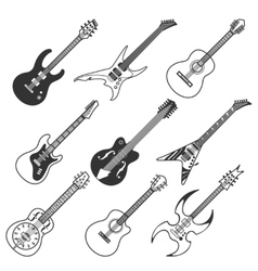 Black guitars silhouettes vector