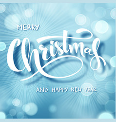 blue christmas text hand drawn lettering holiday vector image