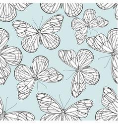 butterflies hand drawing seamless pattern vector image