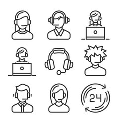 call center and support icons set vector image