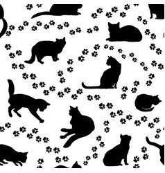 Cats seamless pattern kitten silhouette and vector