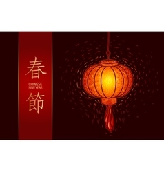Chinese lighted lantern vector