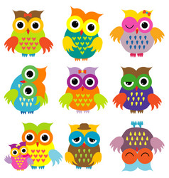colorful cartoon owls set vector image