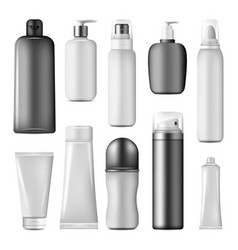 cosmetic bottle spray pump and dispenser mock up vector image