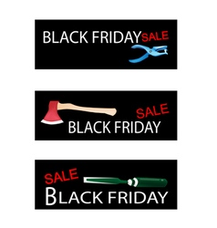 Craft tools on three black friday banners vector