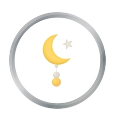Crescent and Star icon in cartoon style isolated vector image