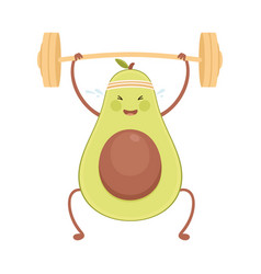 Cute avocado exercising with barbell funny fruit vector