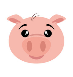 Cute pig emoji kawaii vector