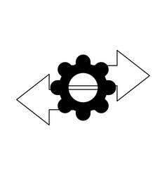data analysis gear arrows information line icon vector image