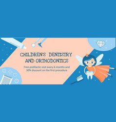 Dentistry and orthodontics for children banner or vector