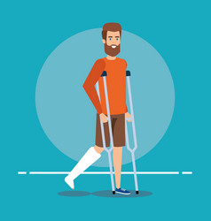 Disabled man walking with crutches for leg vector
