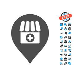 drugstore marker icon with free bonus vector image