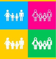 family sign four styles of icon on four color vector image