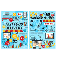 fast food burgers and snacks online delivery vector image