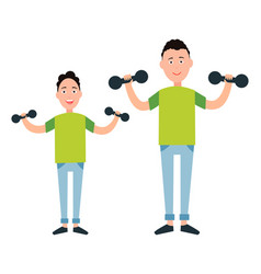 father and son train with dumbbells vector image