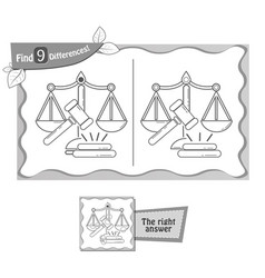 find 9 differences game justice vector image