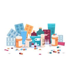 Flat bottles and pills medicine pills capsules vector
