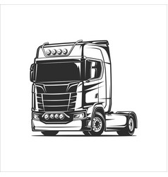 flat cabin truck black and white vector image