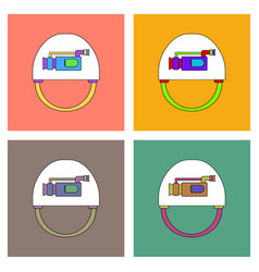 flat icon design collection helmet with video cam vector image