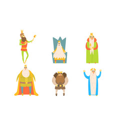 funny king posing in different situations set vector image