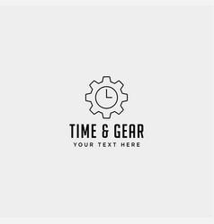 Gear time logo line design management industrial vector