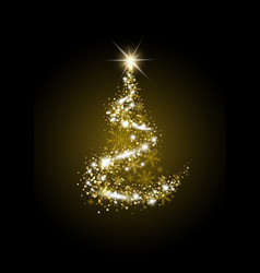 gold luxury christmas tree on black background vector image
