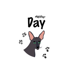 Greeting card with text meow day portrait of vector