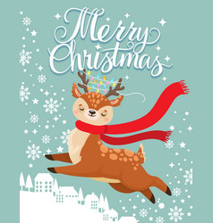 greeting card with xmas deer merry christmas vector image