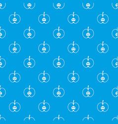 half apple pattern seamless blue vector image