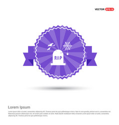 Halloween grave icon - purple ribbon banner vector