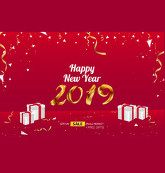 Happy new year 2019 sale banner advertising vector