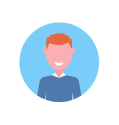 Happy redhead boy face avatar little child male vector